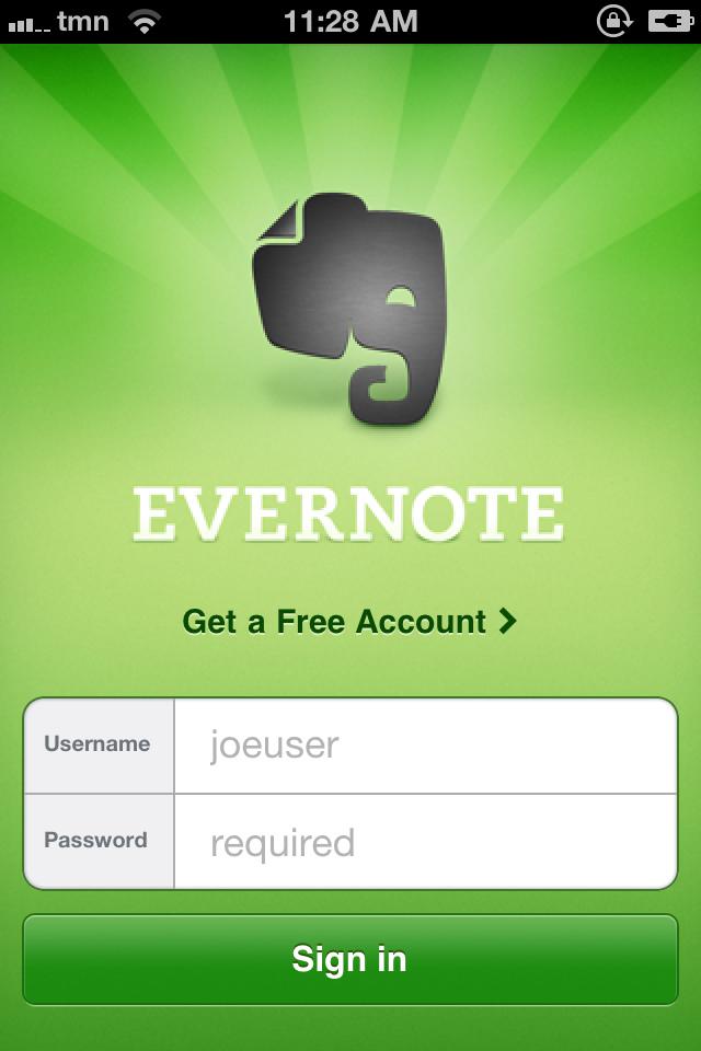 Evernote - varianta mobila